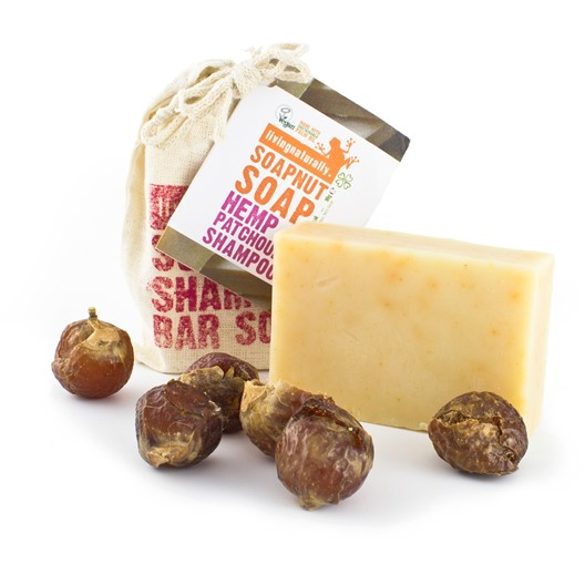 Living Naturally Hemp & Patchouli Soapnut Shampoo Bar, 90 g